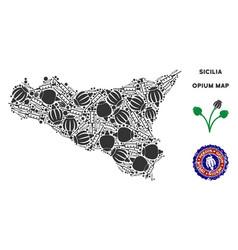 Opium drugs sicilia map collage vector
