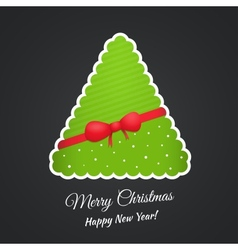 Paper Christmas tree with bow and ribbon vector image