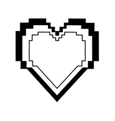 Pixel cartoon heart icon image vector