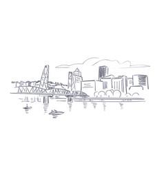 Portland oregon usa america sketch city line art vector