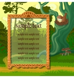 Poster with golden frame and bird in woodland vector
