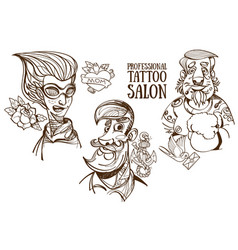 professional tattoo salon people sketch vector image