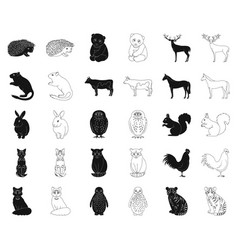 Realistic animals blackoutline icons in set vector