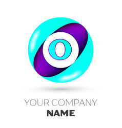 Realistic letter o logo in colorful circle vector