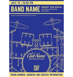 rock music concert drum set vertical music flyer vector image