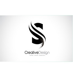 S letter design brush paint stroke vector