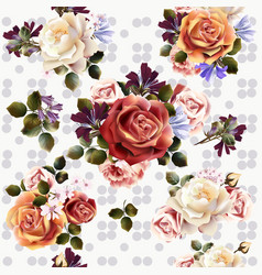 seamless background or pattern with rose flowers vector image