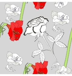 Seamless pattern with amaryllis and white rose vector