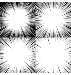 Set of abstract comic book explosion backgrounds vector image