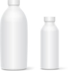 Set of blank white bottles for milk or vector