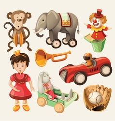 Set of colorful vintage toys for kids vector image