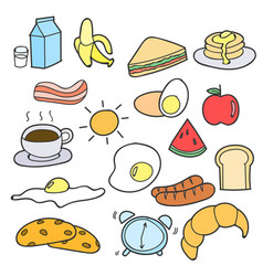 set of hand drawing breakfast doodle vector image