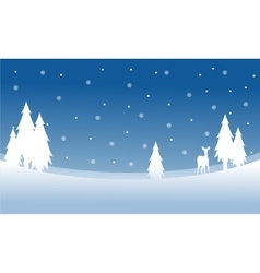Silhouette of deer on the hill winter Christmas vector