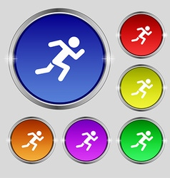 simple running human icon sign Round symbol on vector image