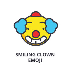 smiling clown emoji line icon sign vector image