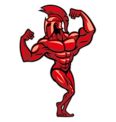 spartan pose and show his big muscle vector image
