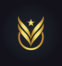 Star fly wing victory abstract gold logo vector