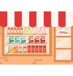 Store and Market background with shelf vector image
