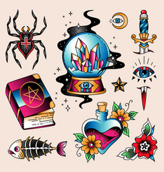 tattoo set mystic vector image