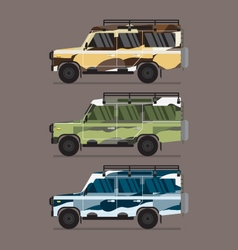 Three different colors of camouflage jeep vector