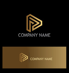 triangle line technology gold logo vector image