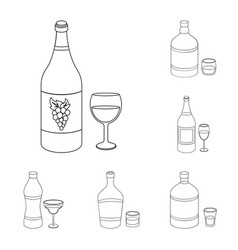 Types of alcohol outline icons in set collection vector