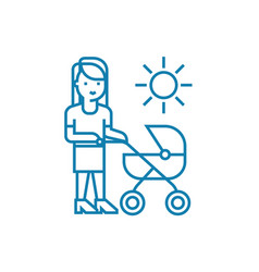 walking with mom linear icon concept walking with vector image