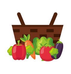 wicker basket with eggplant pepper tomato and vector image