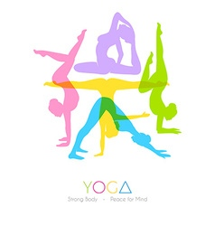 Women doing yoga asanas vector