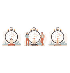 Work rate time management business people working vector