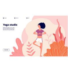 yoga landing page meditation woman banner vector image