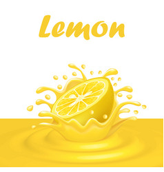 a splash of juice from a falling lemon and drops vector image vector image