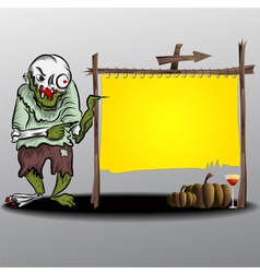 Frame halloween ghost and yellow frame vector