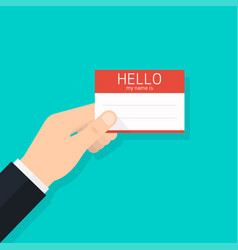 hand holding business card hello my name is vector image vector image