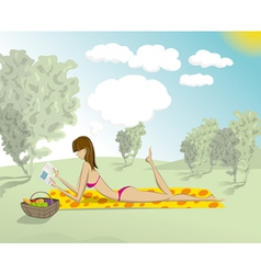 Woman in Park With Book vector image vector image