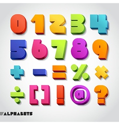 3D alphabet number colorful vector image vector image