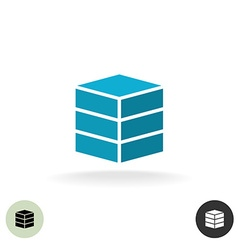 Data base logo Simple geometric 3d box symbol vector image