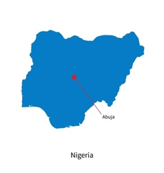 Detailed map of nigeria and capital city abuja vector