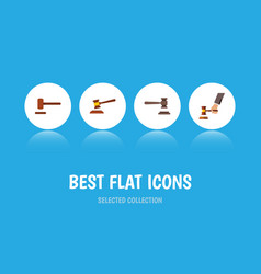 flat icon hammer set of crime hammer defense and vector image vector image