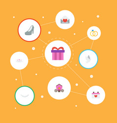 Flat icons jewelry chariot present and other vector