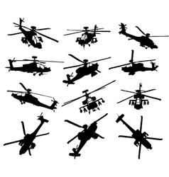 Helicopter silhouettes set vector image