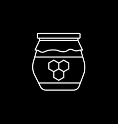 Honey jar line icon food drink elements vector