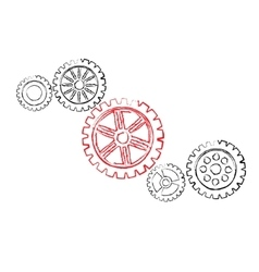 Red gear with black gears vector image vector image