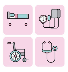 set of medical equipment instrument healthcare vector image