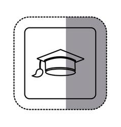 white emblem graduation hat icon vector image