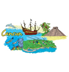 cancun doodles vector image