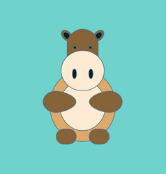 flat icon on background kids toy hippo vector image