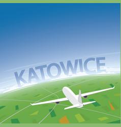 Katowice flight destination vector