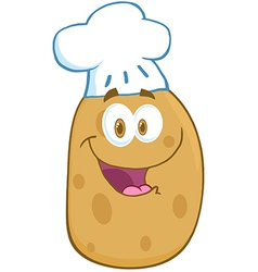Potato Cartoon Mascot Character With Chef Hat vector image vector image