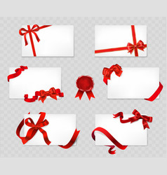 set of white cards with red bows and ribbons on vector image